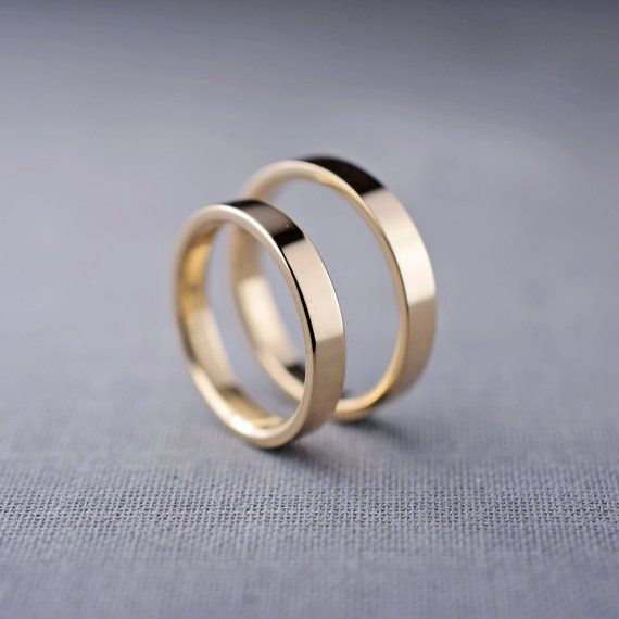 14K Gold Wedding Rings | 3mm 14k Gold Wedding Bands | Hers and Hers Wedding Bands