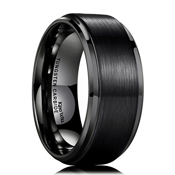 King Will 10mm Black Tungsten Carbide Ring Men Wedding Band Matte Finish Step Edge Comfort Fi Rings For Men Tungsten Carbide Wedding Bands Black Tungsten Rings