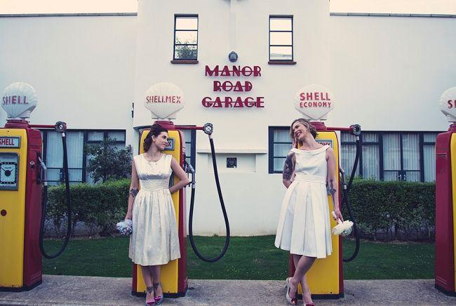 Fifties Retro Garage Same Sex Wedding