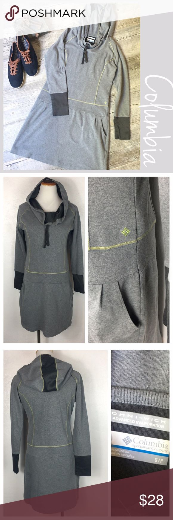 """Columbia Hoodie Dress Columbia Sweatshirt Hoodie Dress. Size Small/P with Drop waist and front pockets. Omni Wick. Preowned  Measurements  Bust 18"""" Length 34"""" Sleeves 25"""". Bundle and Save. Suggested User. No Trades. Fast Shipper Columbia Dresses"""