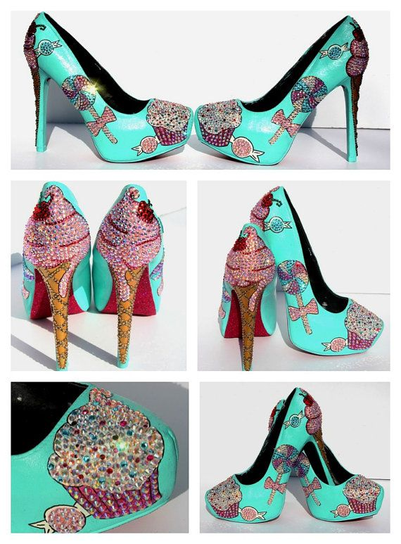 Cupcake and Ice Cream Heels    The love of Cupcakes and Ice Cream are what inspired eye-catching pair of pumps. These shoes are adorned with over