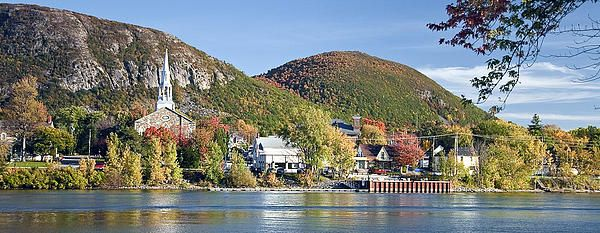 An early October afternoon view of Mont St. Hilaire as seen from the older section of Beloeil, looking east across the Richelieu River. #beloeil, #church, #mountain