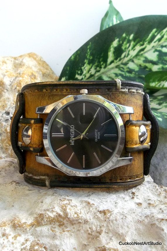 17 best images about trending watches for men men s distressed wrist watch mens leather watch cuff men s watch bracelet