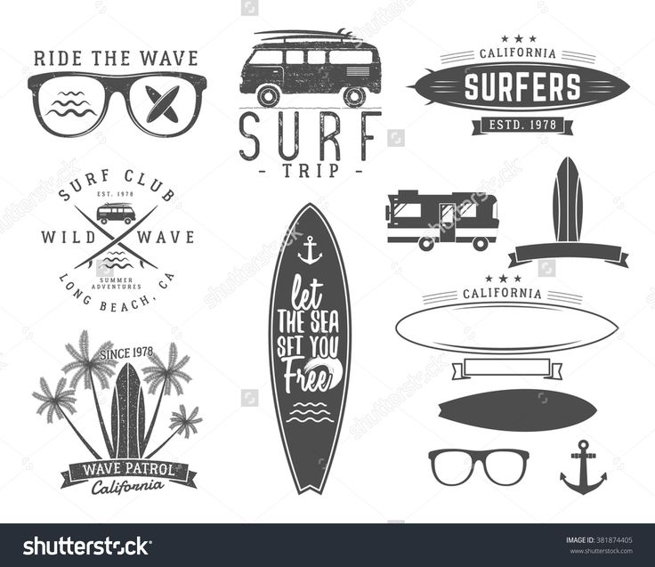 set of vintage surfing graphics and emblems for web design or print surfer logo templates surf. Black Bedroom Furniture Sets. Home Design Ideas