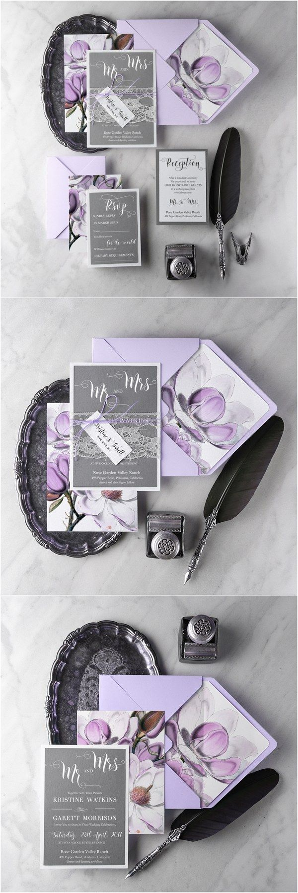 Rustic lavender purple and grey lace wedding invitation kits #rustic #wedding #country