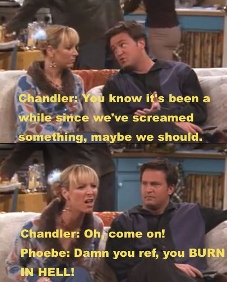 """When Phoebe and Chandler pretended to be invested in a football game to avoid helping Monica in the kitchen / 23 Greatest Thanksgiving Moments From """"Friends"""" (via BuzzFeed Community)"""