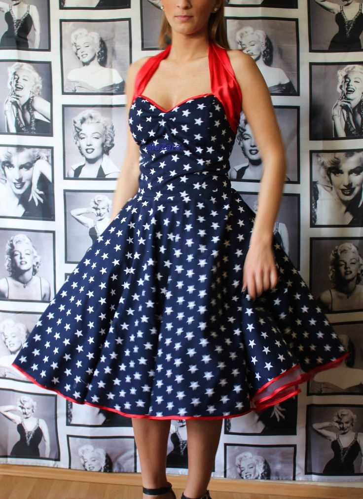 50s Rockabilly Pin Up Petticoat Dress In Navy With