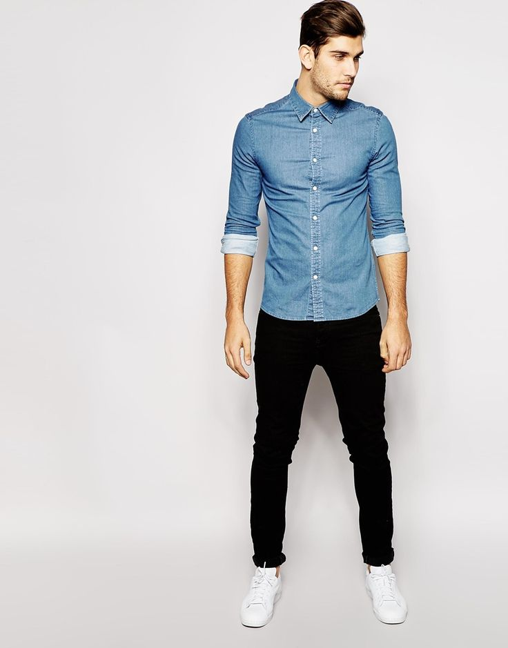 Image 4 of ASOS Skinny Denim Shirt with Long Sleeves In Mid Wash