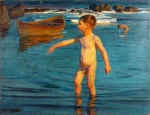Young Boy At The Shore- Benito Rebolledo (1880 – 1964, Chilean)