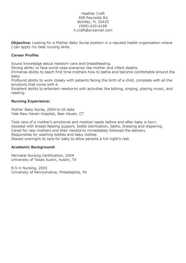 mother baby nurse resume