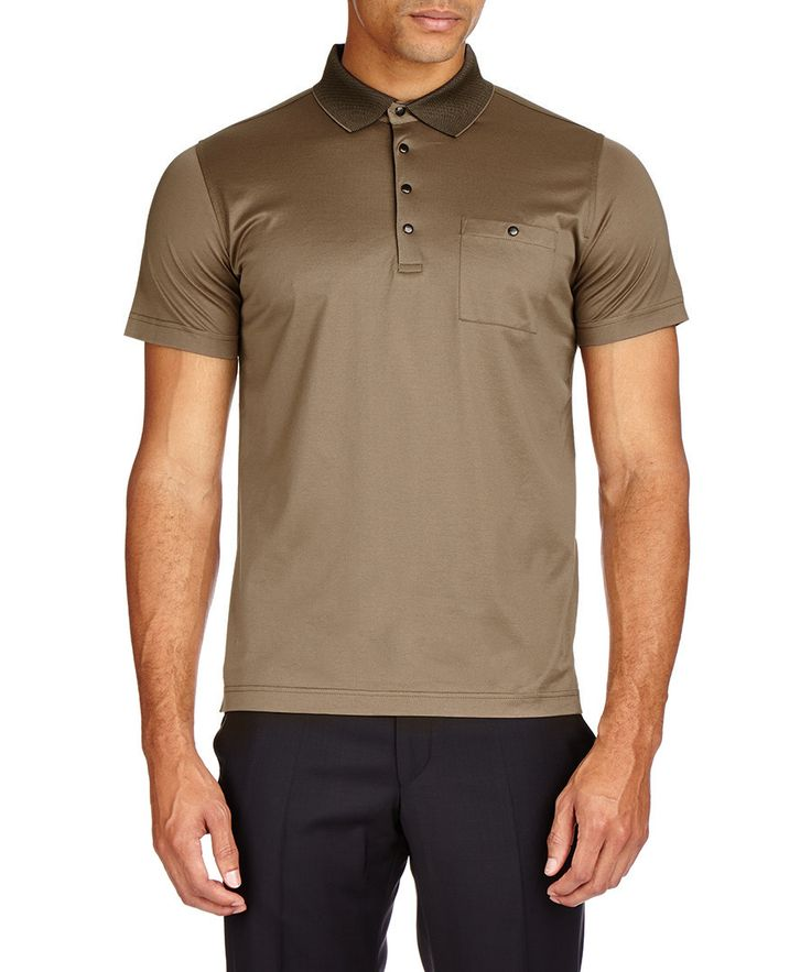 Brown & black collar cotton polo Sale - Lagerfeld by Karl Lagerfeld