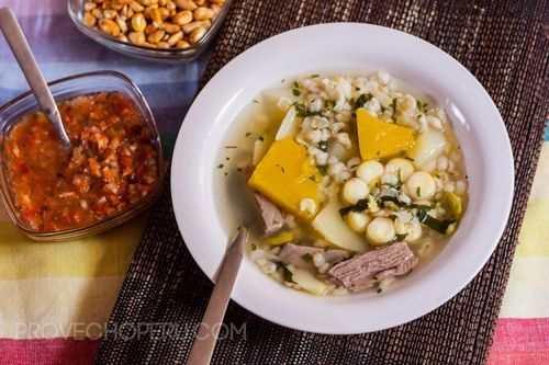 Sopa serrana (Andean soup), a melange of meat, vegetables and beans, from Provecho Peru.