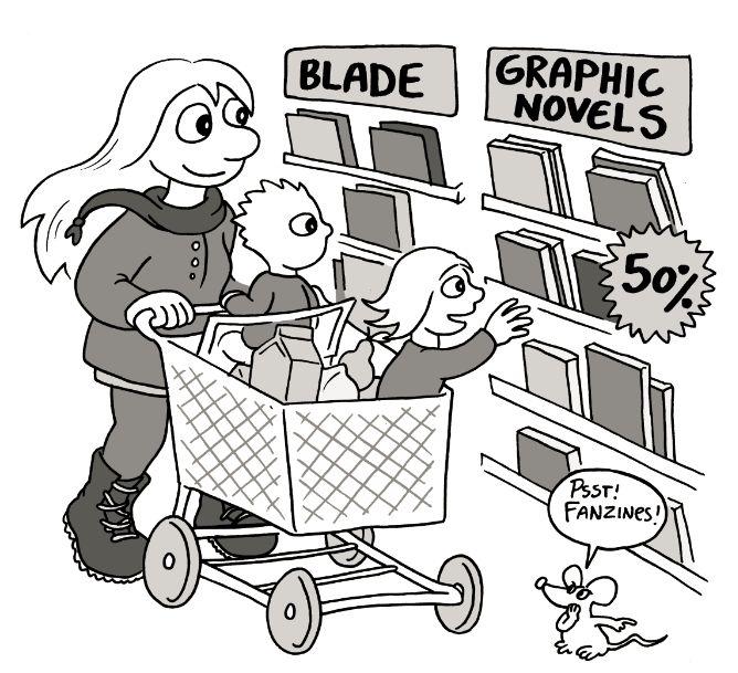 """På tegneserieindkøb - illustration til min bog """"At læse tegneserier - At lave tegneserier"""""""