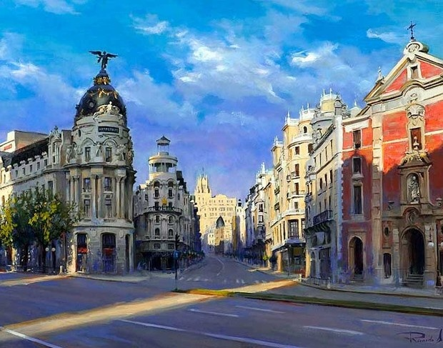 A little sun in the paintings by Ricardo Sanz ( 1957 - ) Spanish. A view of Gran…