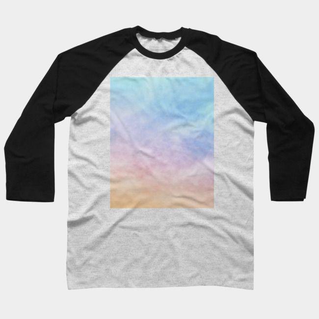 Pastel Rainbow Watercolor Clouds Artwork Baseball Tee Baseball
