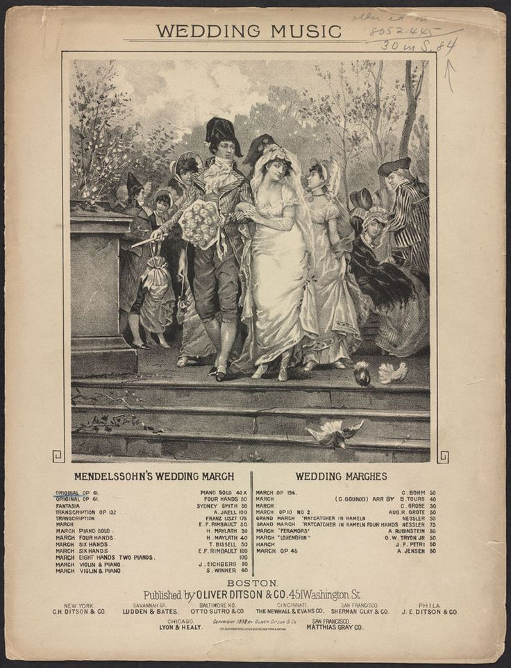Sheet music for Mendelssohn's wedding march. Illustration shows Directoire (1790s) period bride and groom on their wedding day.