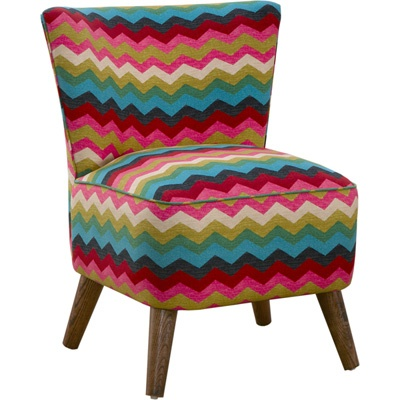 armless upholstered chair chevron