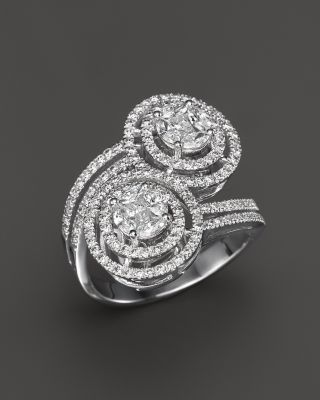 Diamond Oval Statement Ring in 14K White Gold, 1.30 ct. t.w. | Bloomingdale's