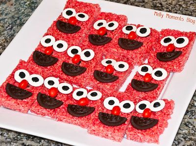 Elmo rice krispie treats for a Sesame Street/Elmo themed birthday party! Come check out Melly Moments Blog for all the colorful, festive party flare including DIY decorations, favors, food tent cards, 3D party boxes, customized invites and stat posters, and so much more!