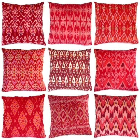 Ikat pillows from Ginette 1223 on Etsy.