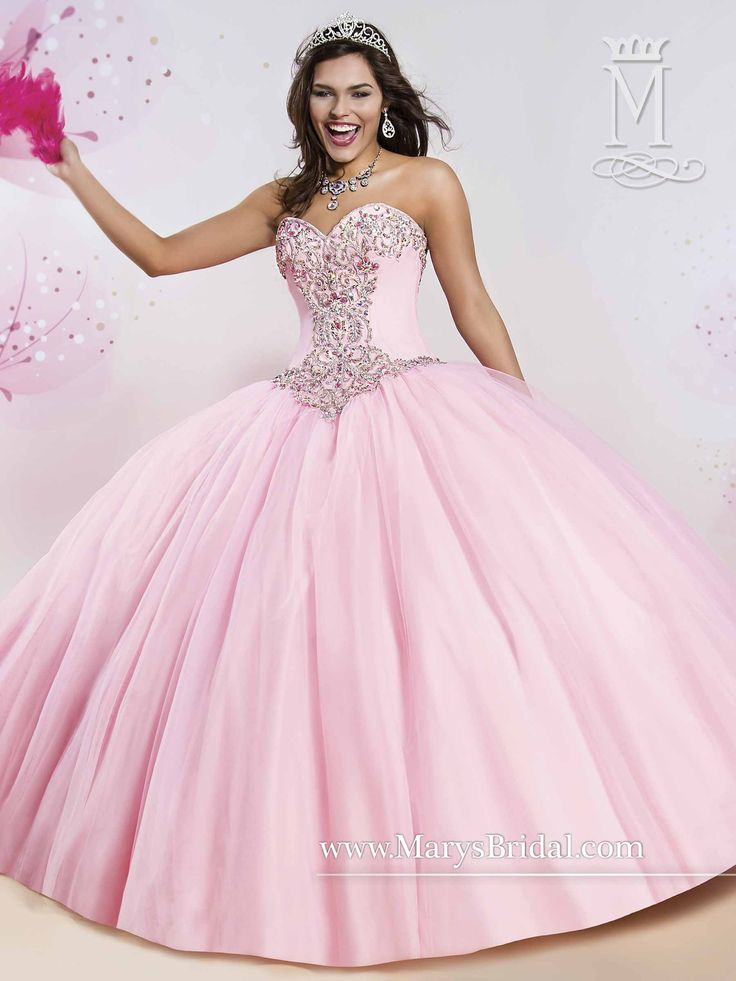 Radiate the room in a Mary's Bridal Princess Collection Quinceanera Dress Style 4Q406 at your Sweet 15 party or at any formal event. A tulle quinceanera ball gown with a strapless sweetheart neckline,