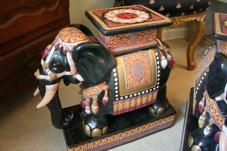 Rare Pair Vtg Lrg Asian Wen Hing Ceramics Elephant