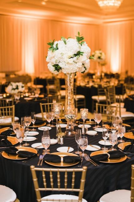 Black, gold, and white wedding reception decor. Hydrangea ...