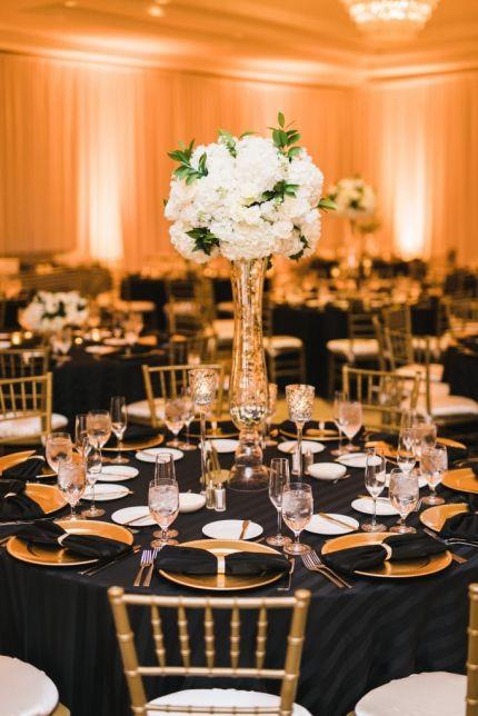 Black Gold And White Wedding Reception Decor Hydrangea