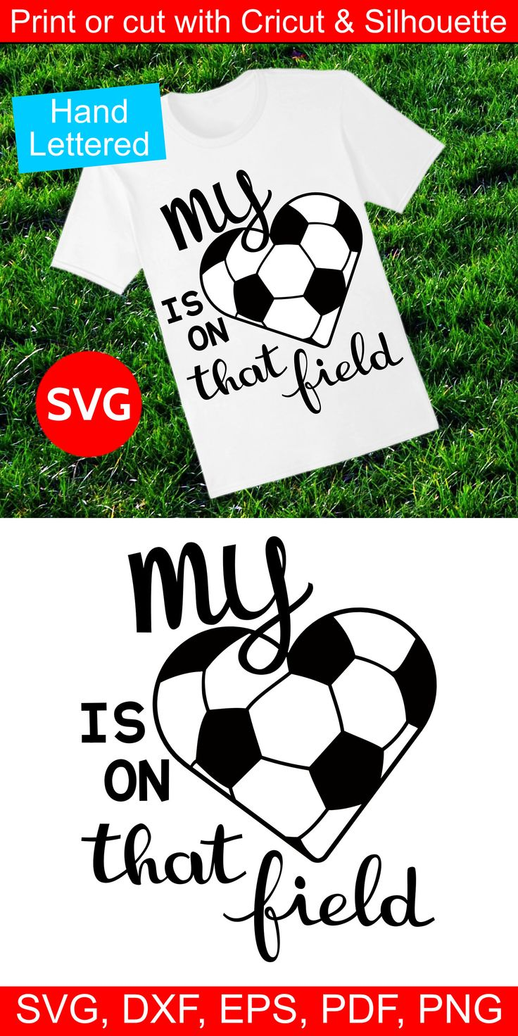 SVG file, My Heart is on that field Sports sayings for Cricut and Silhouette