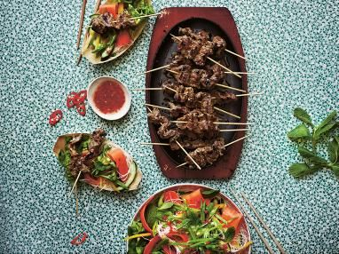 Lemongrass beef skewers with Vietnamese noodle salad recipe | The Main ...