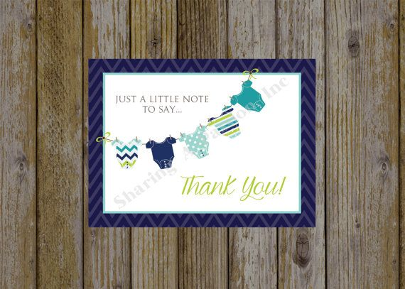 baby shower thank you card thank you note onsie baby shower baby shower ideas boy baby