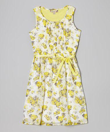 (Ash wedding) Look at this #zulilyfind! Yellow & White Floral Dress by Speechless #zulilyfinds