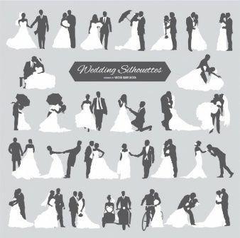 Sechs Hochzeitspaare in der Silhouette #laceweddingdresses