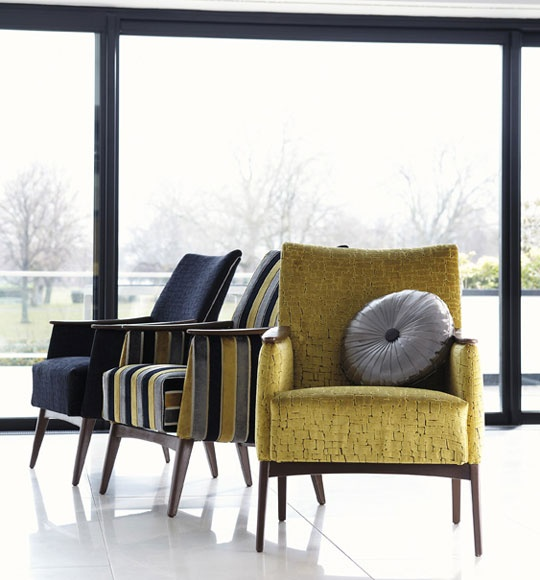 Harlequin Momentum upholstery. This is such a masculine style, it reminds me of the 'Mad Men' era of the late 50's early 60's when men were men :)