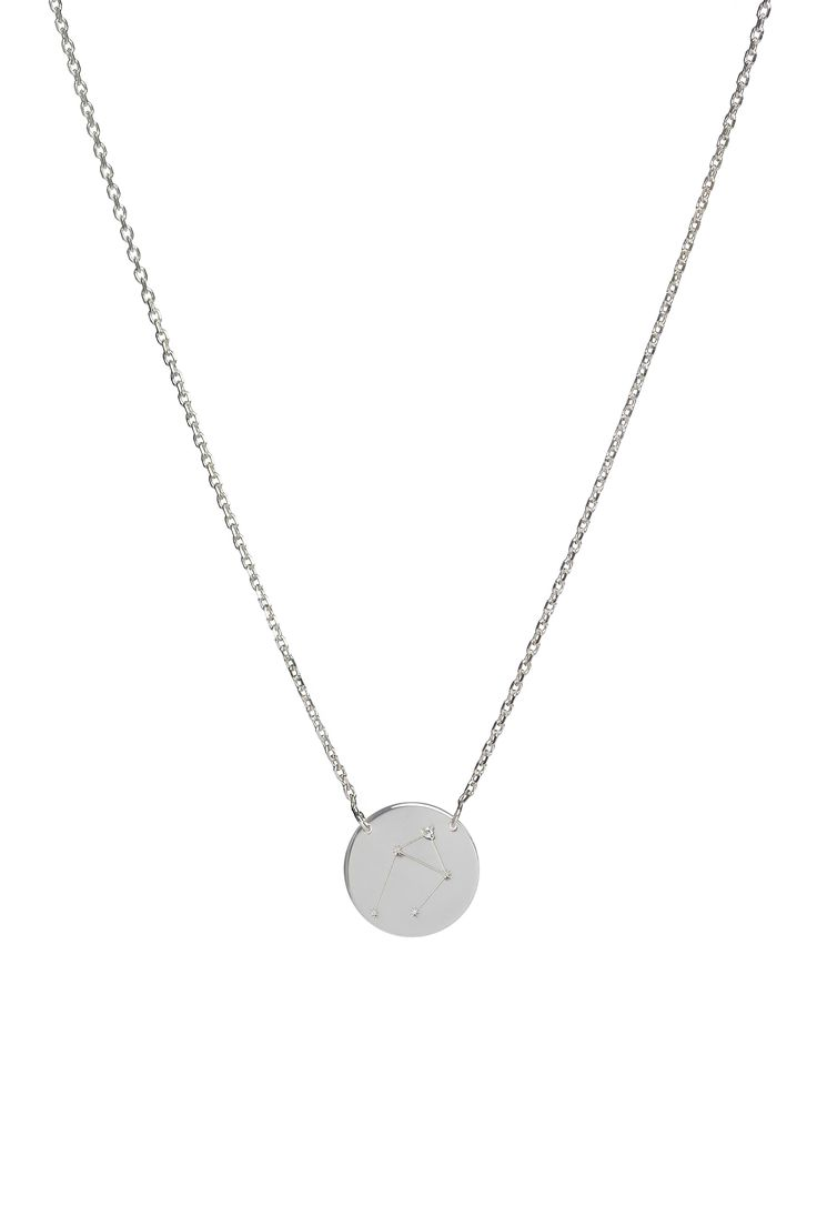 Libra constellation necklace in 14k gold and a diamond. September 23 to October 22.  Available in white or yellow gold. Free personalized engraving on the back of the pendants. Shop the collection at www.reena.ro or order directly at reena.orders@gmail.com.