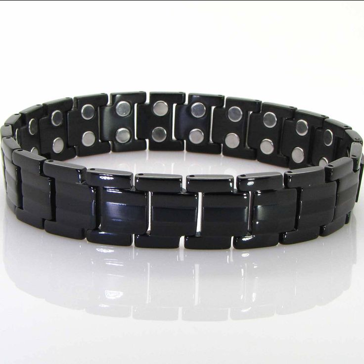 Mens Health Bracelet Black TITANIUM Magnetic Bracelet-ALL SIZES-Golf Gifts for Men Healing Bracelet for Arthritis Wrist Joint-BT42