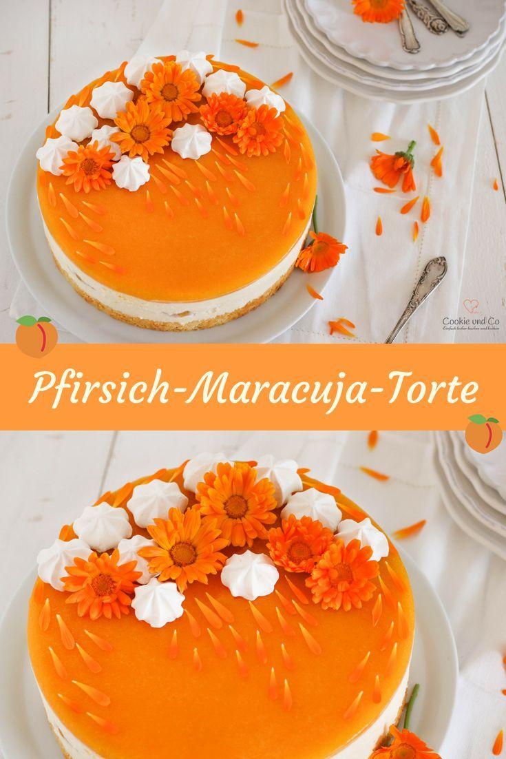 Rezept für eine Pfirsich-Maracuja-Torte. Sie schmeckt fruchtig – erfrischend un…