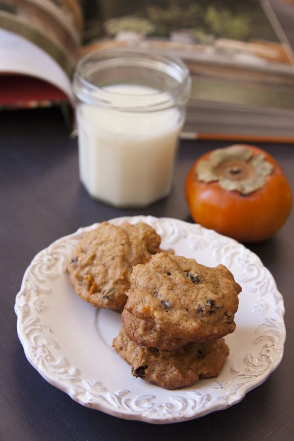 Fresh Persimmon Cookies with Raisins and Nuts