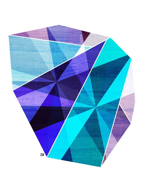 Aquamarine Geometric Facet 8X10 Art Print by thepairabirds on Etsy, $20.00