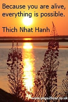 Because you are alive, everything is possible.  Thich Nhat Hahn
