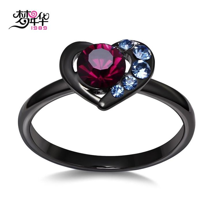 [Visit to Buy] DreamCarnival 1989 Valentine's Gift Sweet Heart Ring for Women Wedding Jewelry Purple Light Blue Crystals Anillos Bandas de boda #Advertisement