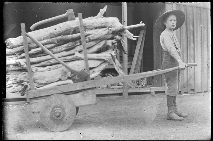 107048PD: Jack Riches with a handcart full of wood at his home in Lyalls Mill, ca.1905. https://encore.slwa.wa.gov.au/iii/encore/record/C__Rb5097254