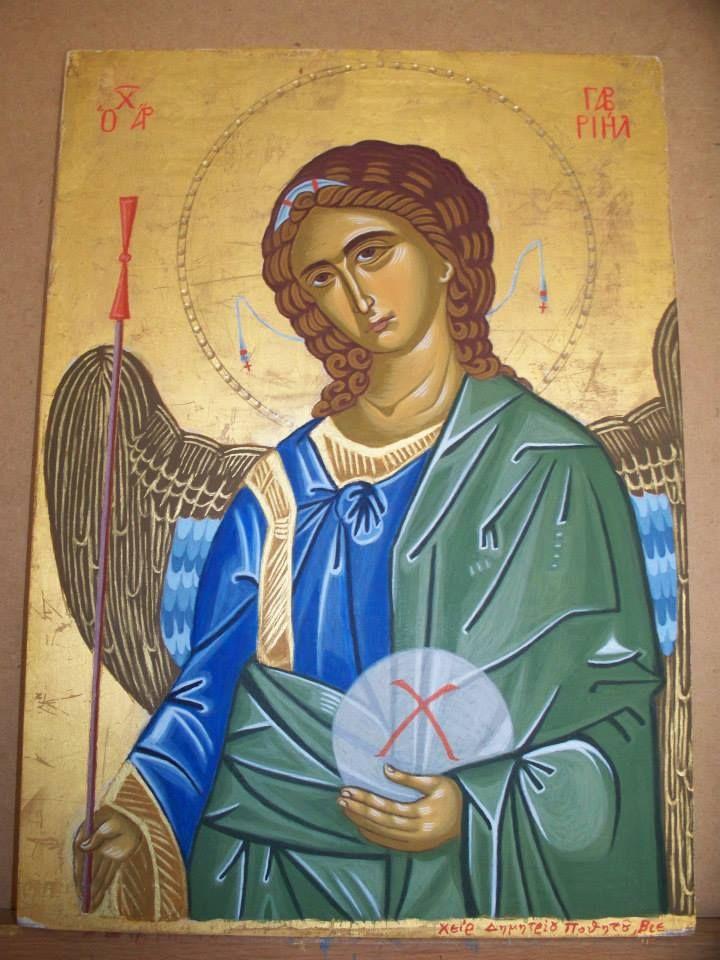Αρχάγγελος Γαβριήλ - Αυγοτέμπερα σε ξύλο. Archangel Gabriel - Egg tmepera on wood.
