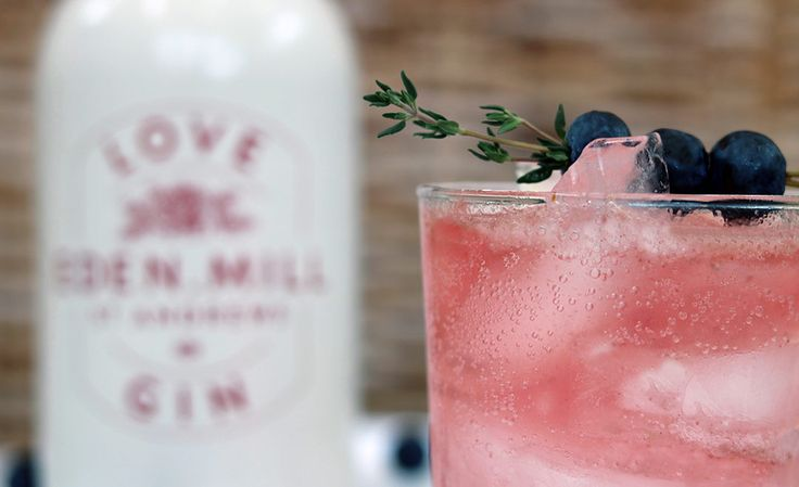 Eden Mill Love Gin and Fentimans Rose lemonade Blueberry and thyme cocktail