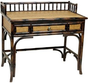 Bamboo and rattan writing desk asian inspired home for Asian inspired desk