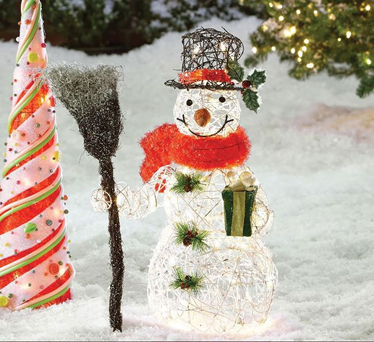 Snowman Christmas Outdoor Decoration With Clear Lights