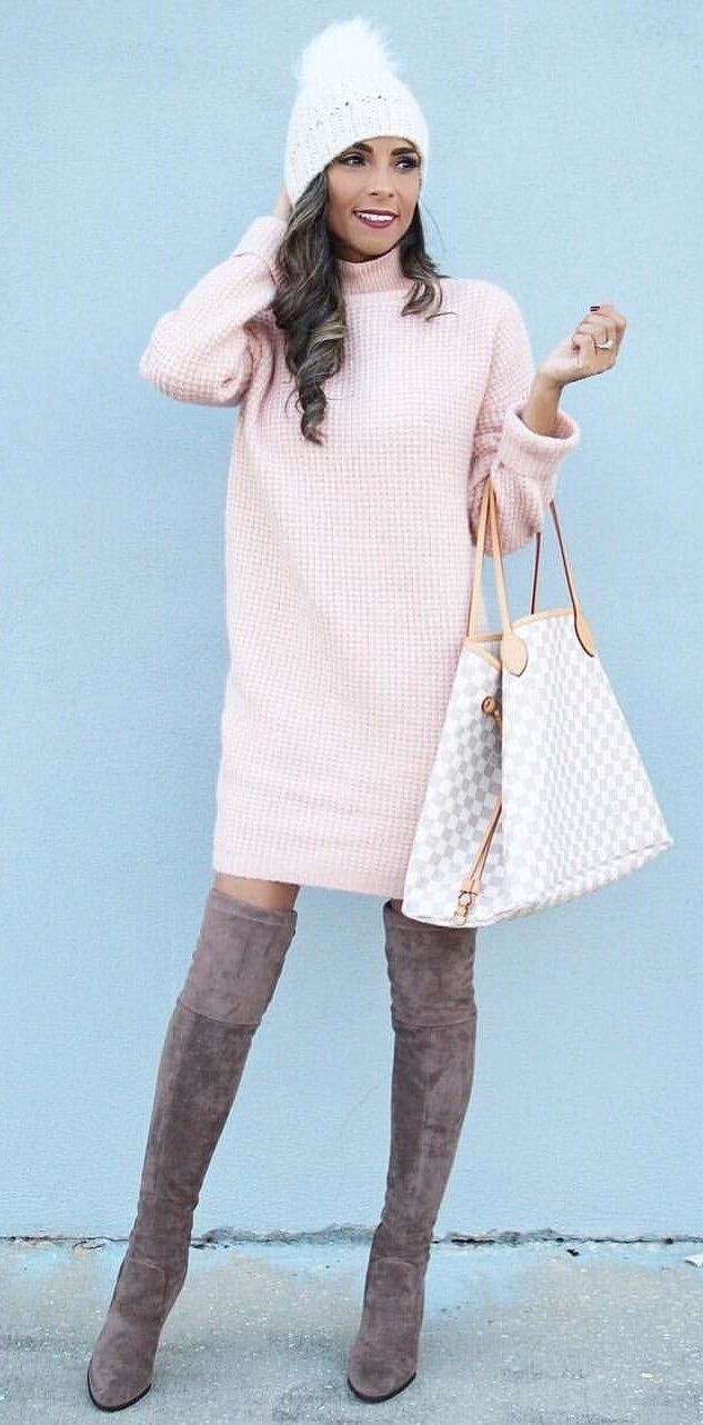 #women's knitted pink turtle-neck #sweater #dress