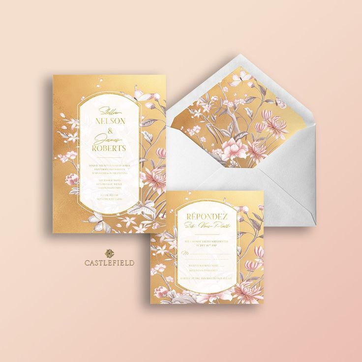 Castlefield Yellow Gold Pink Floral Chinoiserie Wedding