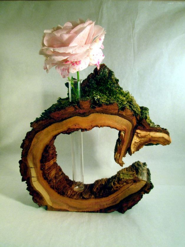 2 kleine vasen flaschenvasen shabby deko - Kreative Ideen Aus Holz
