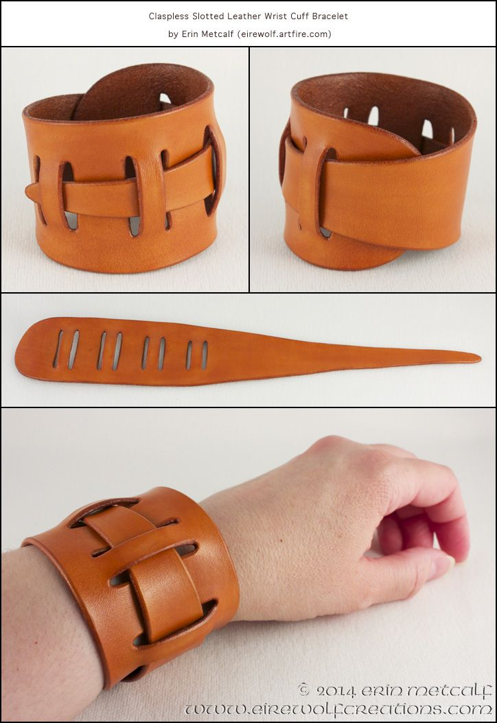 Claspless Slotted Leather Wrist Cuff Bracelet by EirewolfCreations.deviantart.com on @DeviantArt